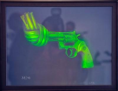 Hologram av Carl Fredriks skulptur Non Violence Holograf Johnny Gustavsson Bild fotograf Fredrik Johansson Helsingborgs Dagblad