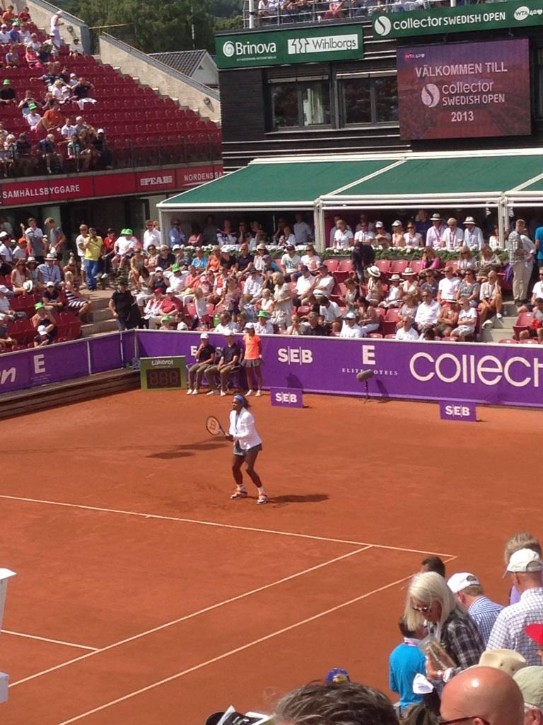Serena Williams uppvärming Swedish Open Båstad -13
